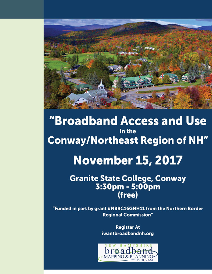 Flyer displaying an aerial view of Conway with an invitation to the Broadband Access and Use event. Click to learn more.